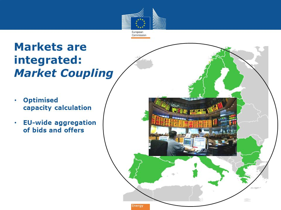 Energy Markets are integrated: Market Coupling Optimised capacity calculation EU-wide aggregation of bids and offers