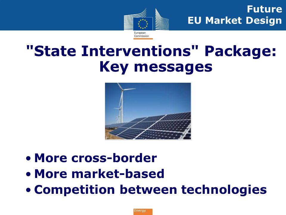 Energy Future EU Market Design More cross-border More market-based Competition between technologies