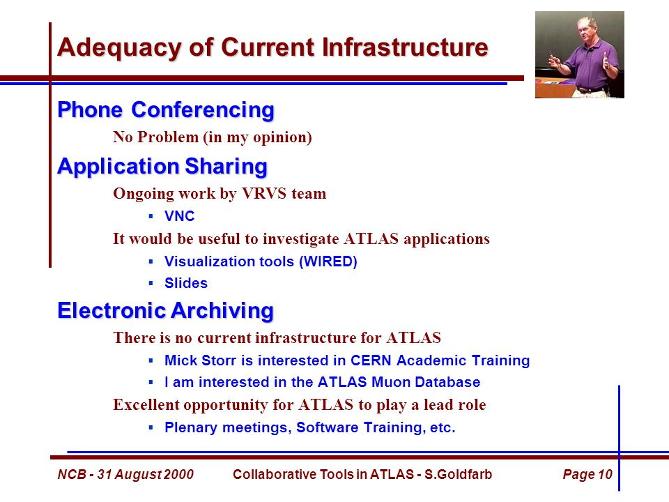 NCB - 31 August 2000Collaborative Tools in ATLAS - S.GoldfarbPage 10 Adequacy of Current Infrastructure Phone Conferencing No Problem (in my opinion) Application Sharing Ongoing work by VRVS team  VNC It would be useful to investigate ATLAS applications  Visualization tools (WIRED)  Slides Electronic Archiving There is no current infrastructure for ATLAS  Mick Storr is interested in CERN Academic Training  I am interested in the ATLAS Muon Database Excellent opportunity for ATLAS to play a lead role  Plenary meetings, Software Training, etc.