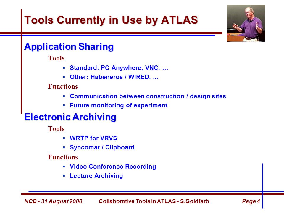 NCB - 31 August 2000Collaborative Tools in ATLAS - S.GoldfarbPage 5 Lecture Archiving Recording of Meetings Partial solution to the time-zone problem Provides an accurate historical record  Some may not like this… Recording of Lectures Powerful Training Tool Partial solution to Teacher / Student separation problem Ongoing Projects Web Lecture Archive Project (Michigan / CERN project)  CERN Summer Student Lectures  Academic Training Lectures  ATLAS Plenary Meetings ATLAS Software Lecture Series (U.S.