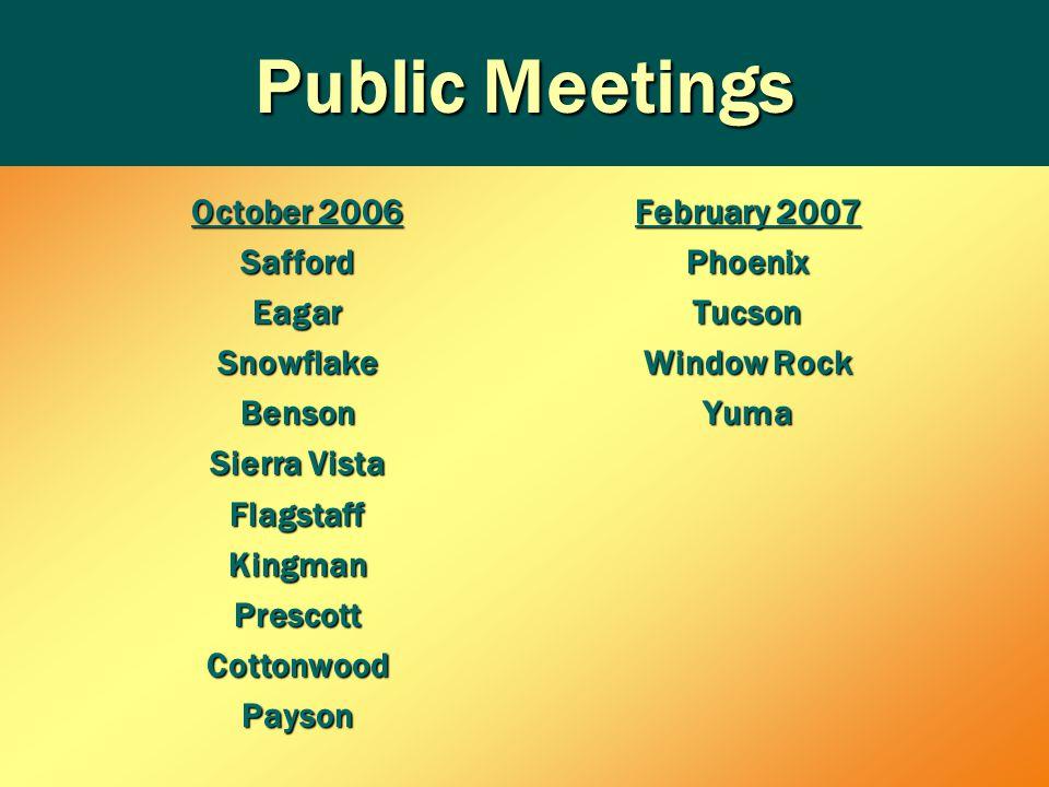 Public Meetings October 2006 SaffordEagarSnowflakeBenson Sierra Vista FlagstaffKingmanPrescottCottonwoodPayson February 2007 PhoenixTucson Window Rock Yuma