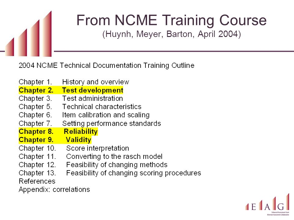 From NCME Training Course (Huynh, Meyer, Barton, April 2004)