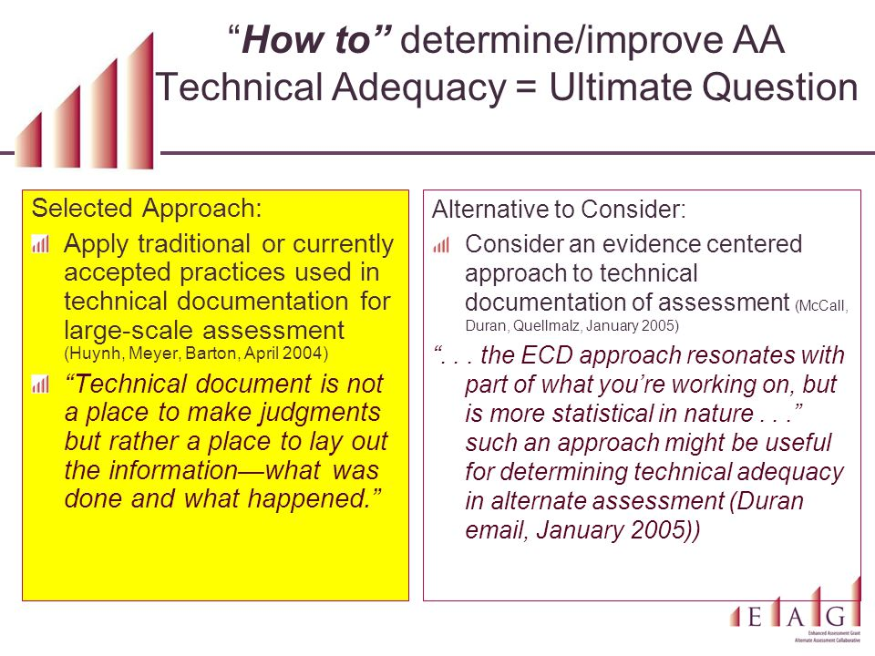 """How to"" determine/improve AA Technical Adequacy = Ultimate Question Selected Approach: Apply traditional or currently accepted practices used in tech"