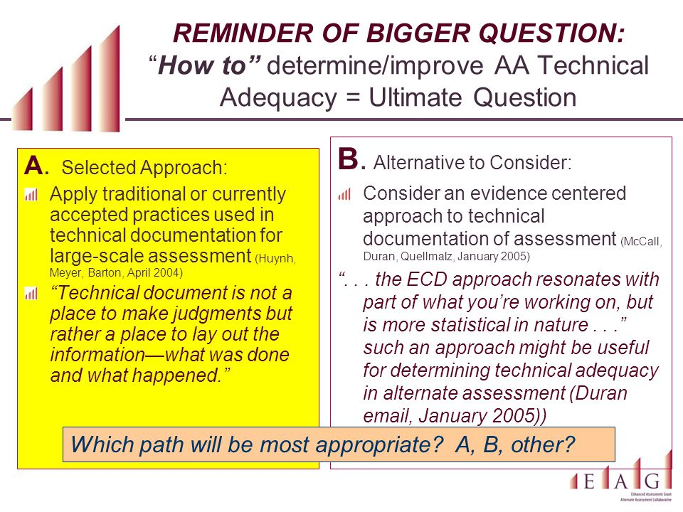 "REMINDER OF BIGGER QUESTION: ""How to"" determine/improve AA Technical Adequacy = Ultimate Question A. Selected Approach: Apply traditional or currently"
