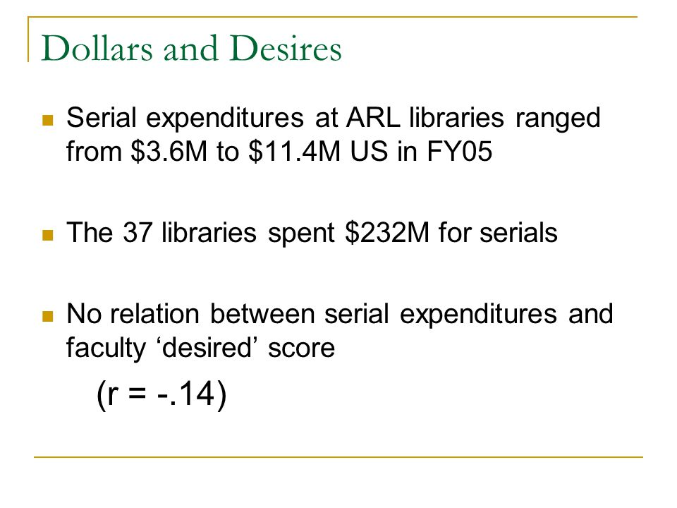 Dollars and Desires Serial expenditures at ARL libraries ranged from $3.6M to $11.4M US in FY05 The 37 libraries spent $232M for serials No relation between serial expenditures and faculty 'desired' score (r = -.14)