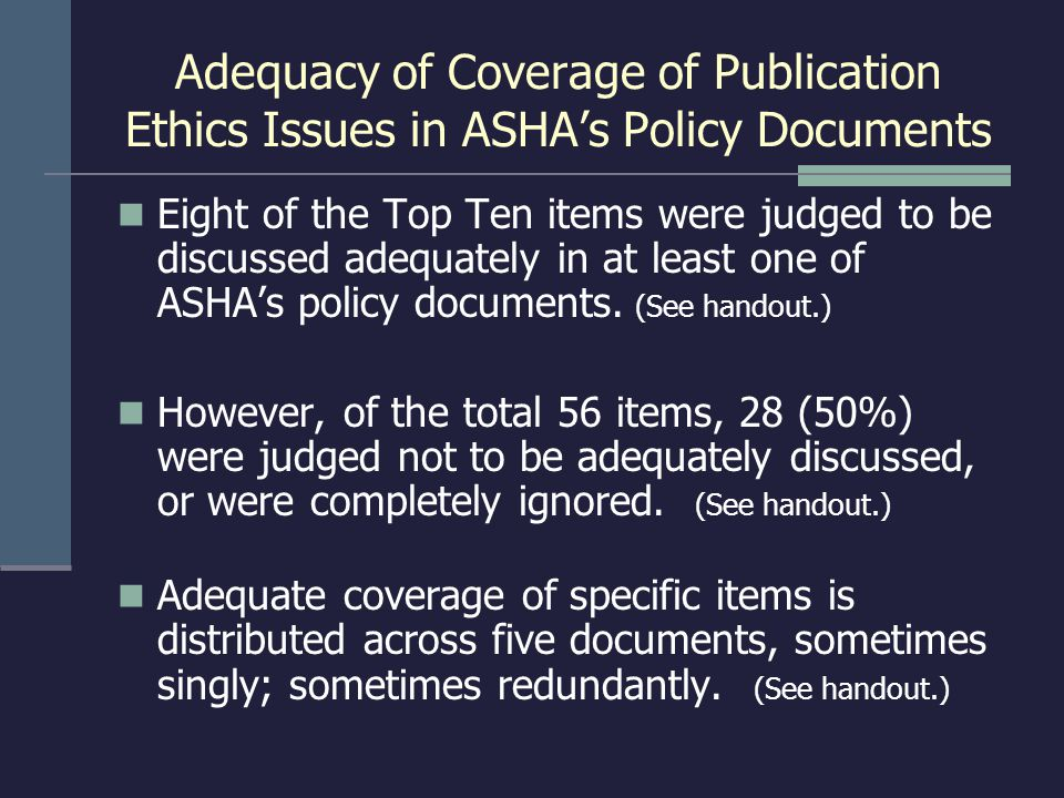 Adequacy of Coverage of Publication Ethics Issues in ASHA's Policy Documents Eight of the Top Ten items were judged to be discussed adequately in at l