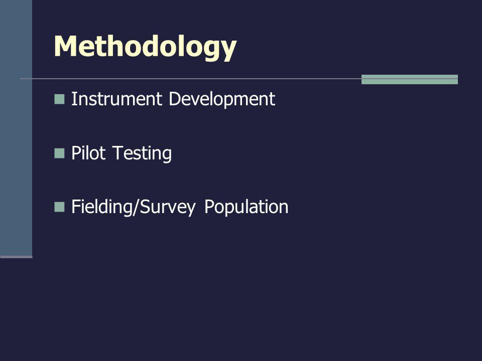 Methodology Instrument Development Pilot Testing Fielding/Survey Population