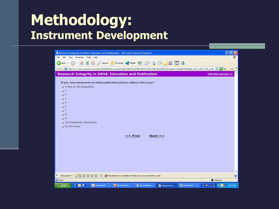 Methodology: Instrument Development