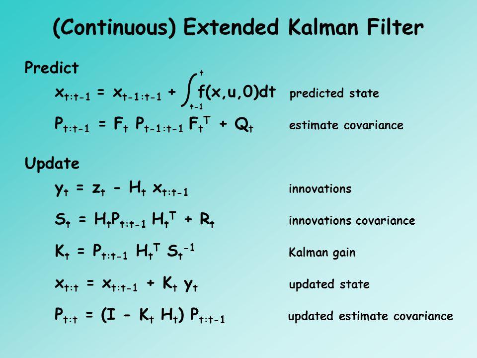 (Continuous) Extended Kalman Filter Predict P t:t-1 = F t P t-1:t-1 F t T + Q t estimate covariance Update S t = H t P t:t-1 H t T + R t innovations covariance K t = P t:t-1 H t T S t -1 Kalman gain x t:t = x t:t-1 + K t y t updated state P t:t = (I - K t H t ) P t:t-1 updated estimate covariance y t = z t - H t x t:t-1 innovations x t:t-1 = x t-1:t-1 + f(x,u,0)dt predicted state t-1 t
