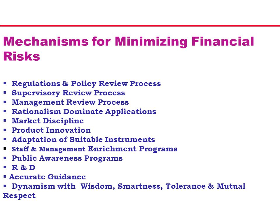 Mechanisms for Minimizing Financial Risks  Regulations & Policy Review Process  Supervisory Review Process  Management Review Process  Rationalism Dominate Applications  Market Discipline  Product Innovation  Adaptation of Suitable Instruments  Staff & Management Enrichment Programs  Public Awareness Programs  R & D  Accurate Guidance  Dynamism with Wisdom, Smartness, Tolerance & Mutual Respect