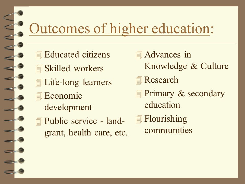 Outcomes of higher education: 4 Educated citizens 4 Skilled workers 4 Life-long learners 4 Economic development 4 Public service - land- grant, health