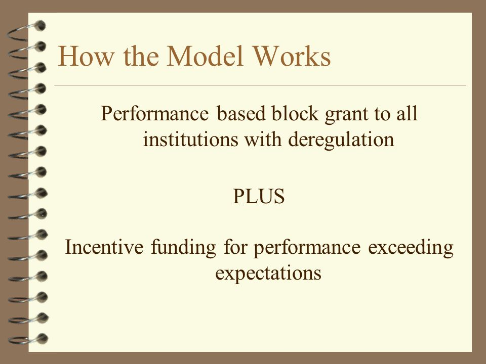 How the Model Works Performance based block grant to all institutions with deregulation PLUS Incentive funding for performance exceeding expectations