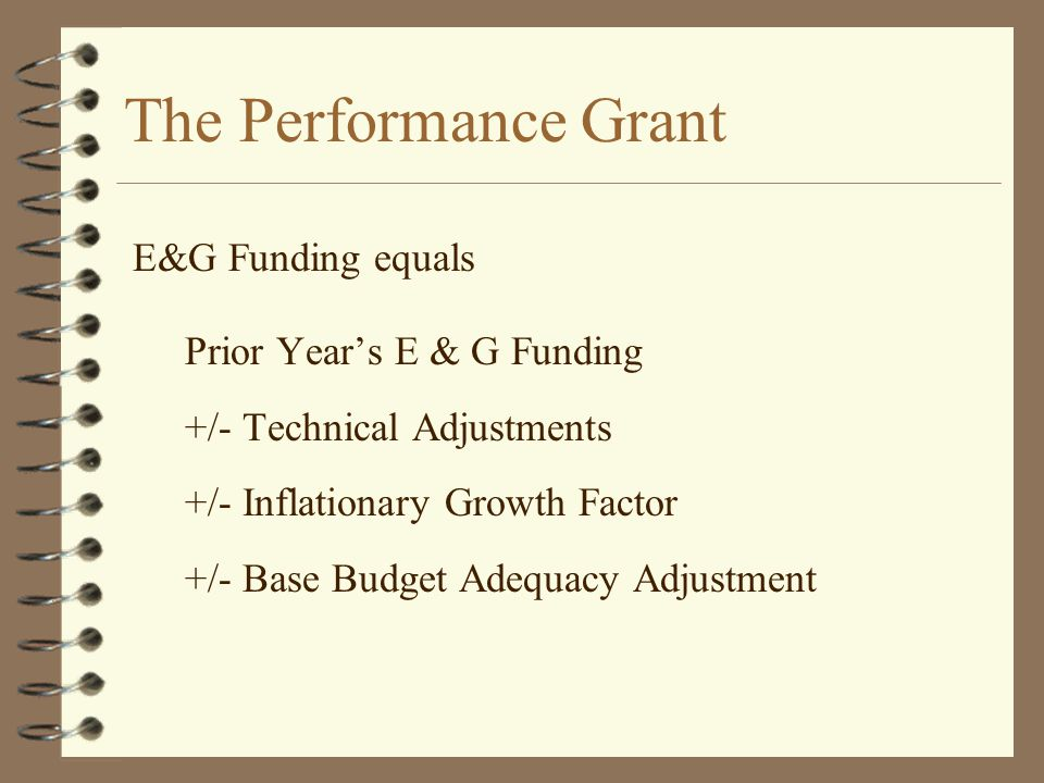 The Performance Grant Prior Year's E & G Funding +/- Technical Adjustments +/- Inflationary Growth Factor +/- Base Budget Adequacy Adjustment E&G Fund