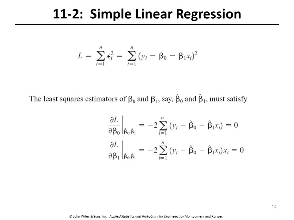 © John Wiley & Sons, Inc. Applied Statistics and Probability for Engineers, by Montgomery and Runger. 11-2: Simple Linear Regression 14