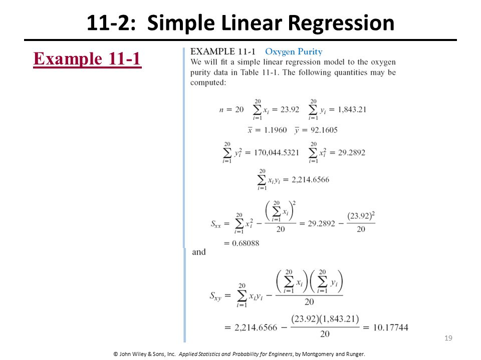 © John Wiley & Sons, Inc. Applied Statistics and Probability for Engineers, by Montgomery and Runger. 11-2: Simple Linear Regression Example 11-1 19