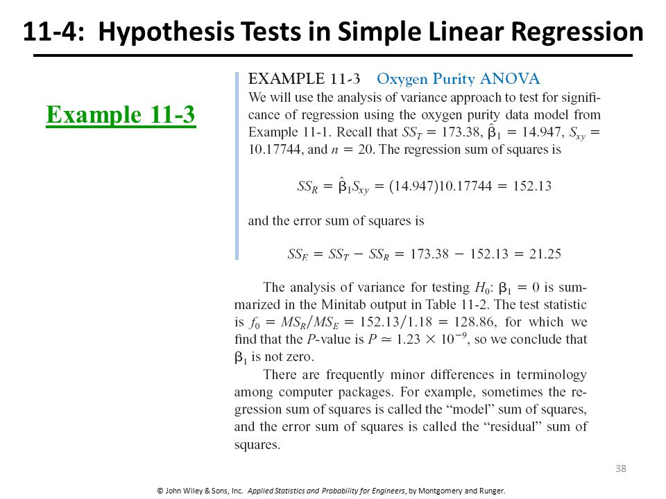 © John Wiley & Sons, Inc. Applied Statistics and Probability for Engineers, by Montgomery and Runger. 11-4: Hypothesis Tests in Simple Linear Regressi