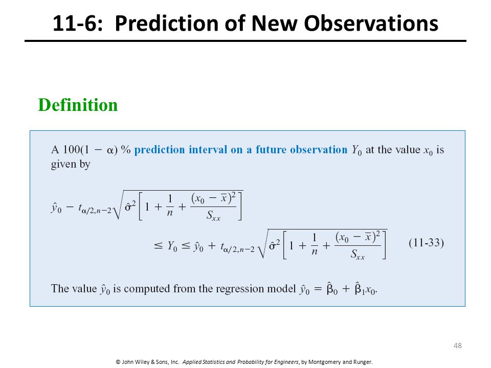 © John Wiley & Sons, Inc. Applied Statistics and Probability for Engineers, by Montgomery and Runger. 11-6: Prediction of New Observations Definition