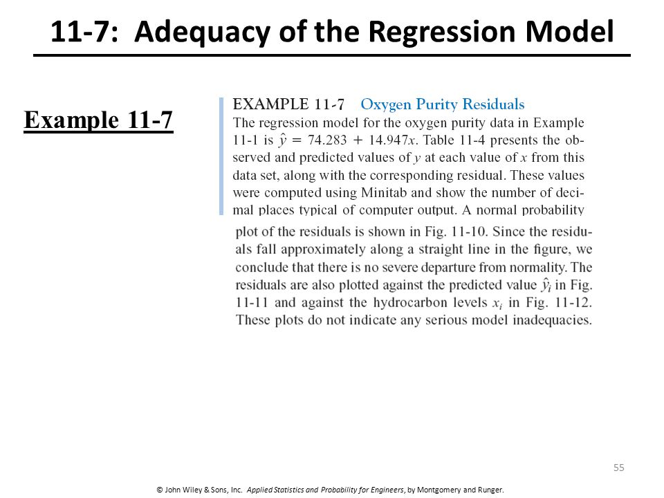 © John Wiley & Sons, Inc. Applied Statistics and Probability for Engineers, by Montgomery and Runger. 11-7: Adequacy of the Regression Model Example 1