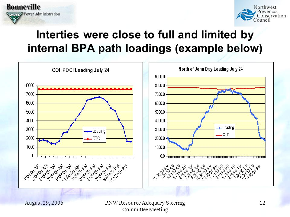 August 29, 2006PNW Resource Adequacy Steering Committee Meeting 12 Interties were close to full and limited by internal BPA path loadings (example below)