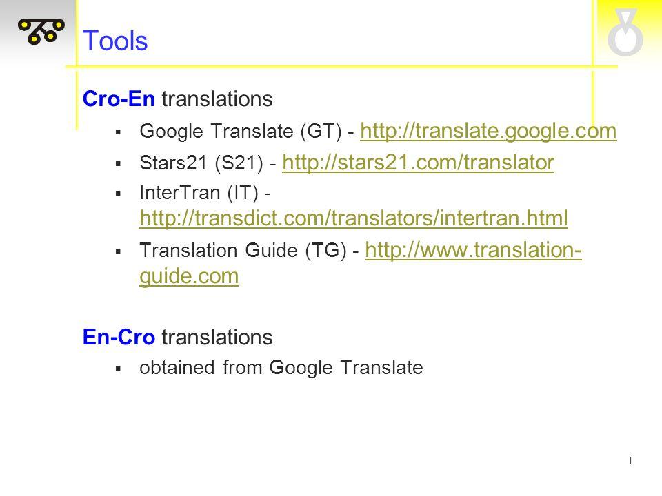 I Tools Cro-En translations  Google Translate (GT) - http://translate.google.com http://translate.google.com  Stars21 (S21) - http://stars21.com/translator http://stars21.com/translator  InterTran (IT) - http://transdict.com/translators/intertran.html http://transdict.com/translators/intertran.html  Translation Guide (TG) - http://www.translation- guide.com http://www.translation- guide.com En-Cro translations  obtained from Google Translate