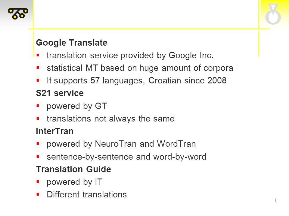 I Google Translate  translation service provided by Google Inc.