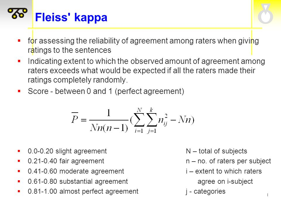 I Fleiss kappa  for assessing the reliability of agreement among raters when giving ratings to the sentences  Indicating extent to which the observed amount of agreement among raters exceeds what would be expected if all the raters made their ratings completely randomly.