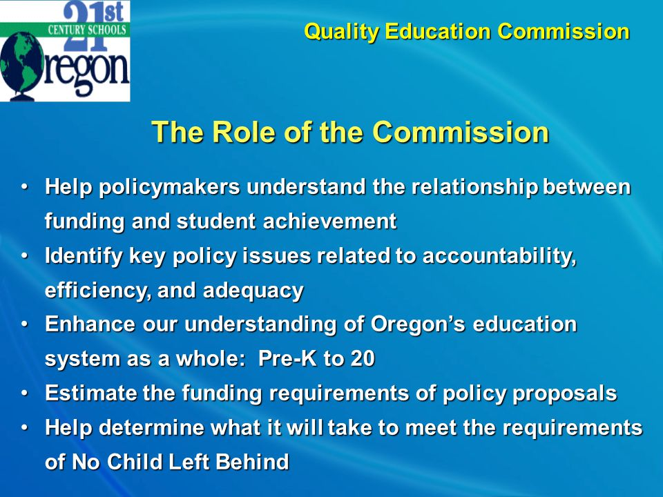 The Commission's Focus  Accountability and Governance  Efficiency  Adequacy