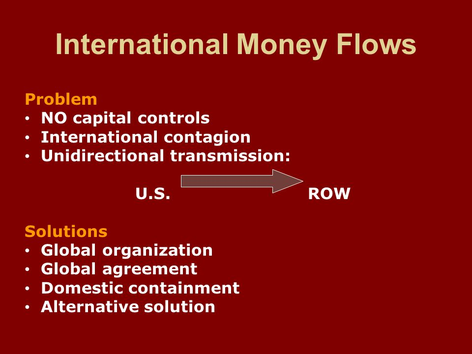International Money Flows Problem NO capital controls International contagion Unidirectional transmission: U.S.