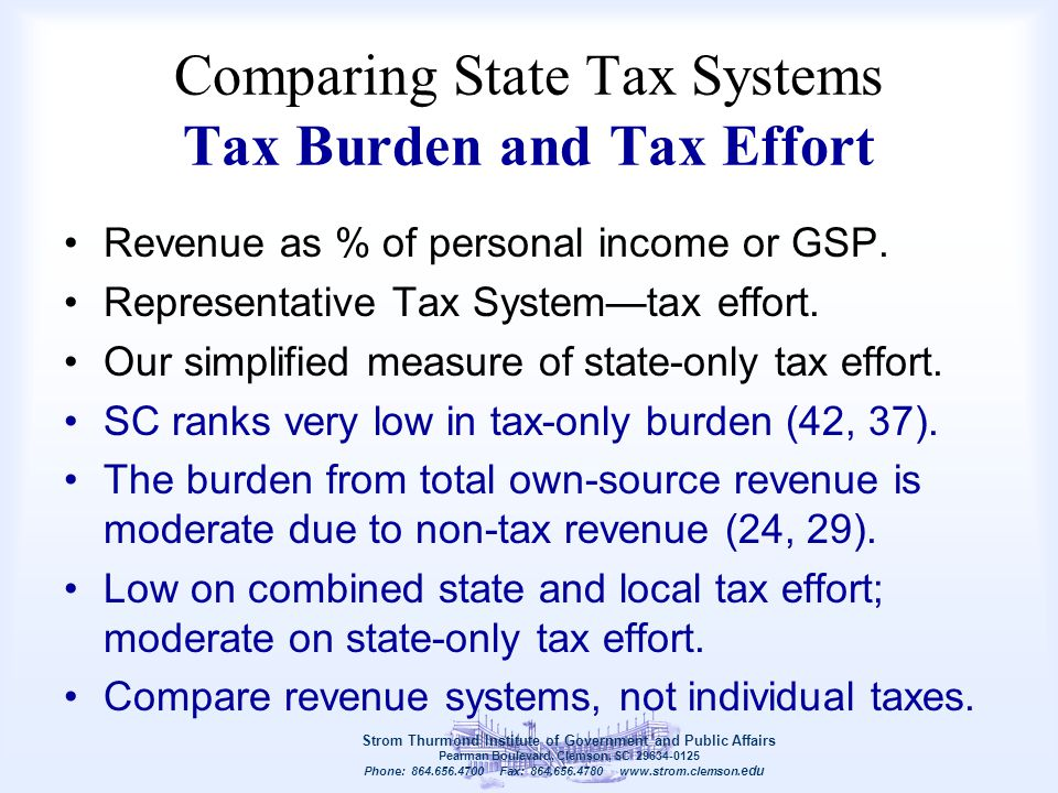 Comparing State Tax Systems Tax Burden and Tax Effort Revenue as % of personal income or GSP. Representative Tax System—tax effort. Our simplified mea