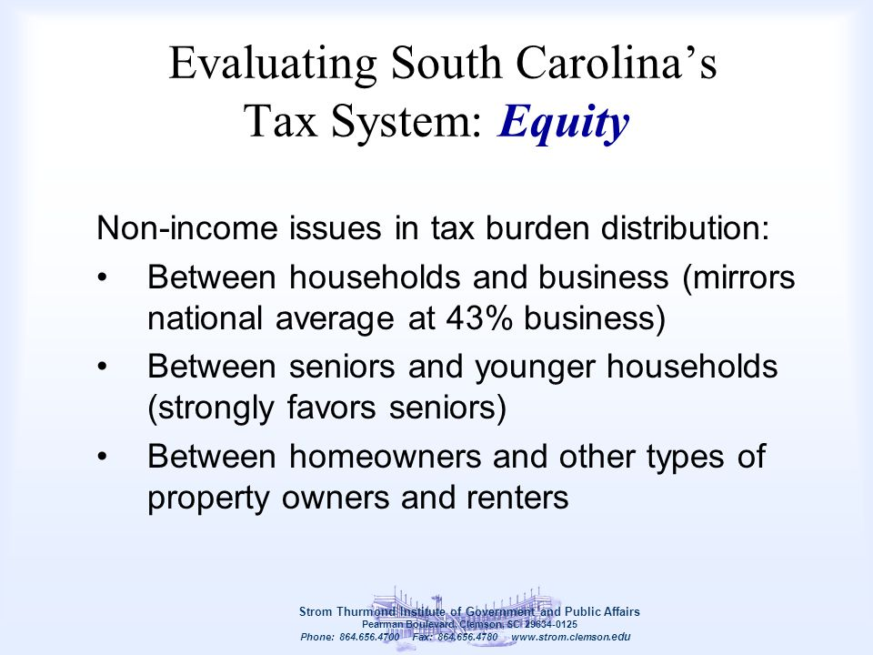 Evaluating South Carolina's Tax System: Equity Non-income issues in tax burden distribution: Between households and business (mirrors national average
