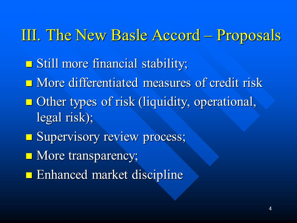34 Other Aspects Deserving Particular Attention: Reliable market pricing of assets, particularly loan portfolio review and assets classification; Reliable market pricing of assets, particularly loan portfolio review and assets classification; Collateral (re)valuation; Collateral (re)valuation; Loan loss provisioning and all that; Loan loss provisioning and all that; Interest income recognition policies; Interest income recognition policies; Volatility and deepness of the markets of operation; Volatility and deepness of the markets of operation;