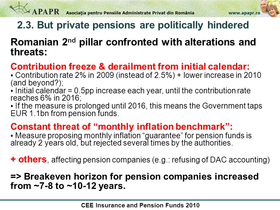 2.3. But private pensions are politically hindered Romanian 2 nd pillar confronted with alterations and threats: Contribution freeze & derailment from