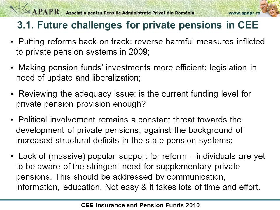3.1. Future challenges for private pensions in CEE Putting reforms back on track: reverse harmful measures inflicted to private pension systems in 200