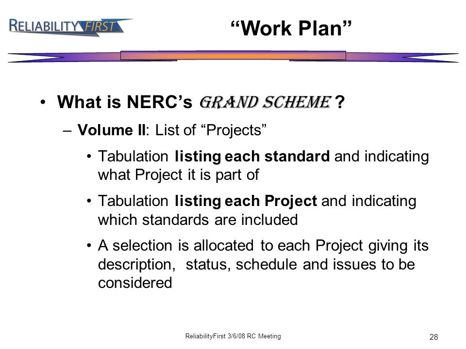 ReliabilityFirst 3/6/08 RC Meeting 28 Work Plan What is NERC's GRAND SCHEME .