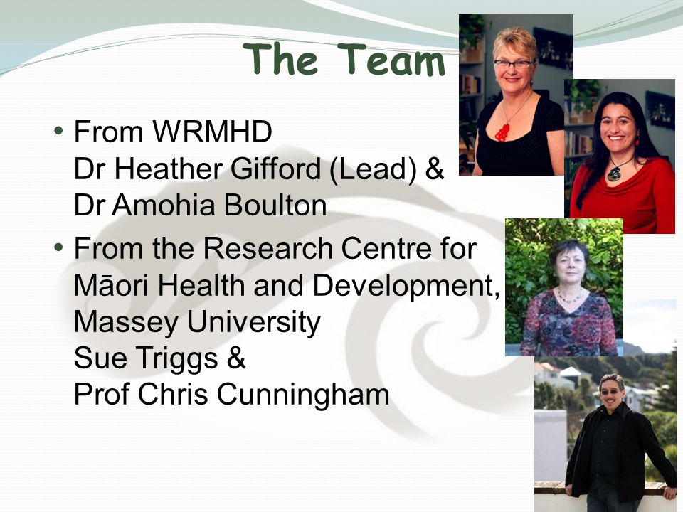 The Team From WRMHD Dr Heather Gifford (Lead) & Dr Amohia Boulton From the Research Centre for Māori Health and Development, Massey University Dr Sue Triggs & Prof Chris Cunningham