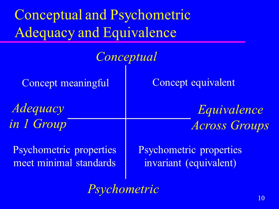 10 Conceptual and Psychometric Adequacy and Equivalence Conceptual Psychometric Adequacy in 1 Group Equivalence Across Groups Concept equivalent Psych