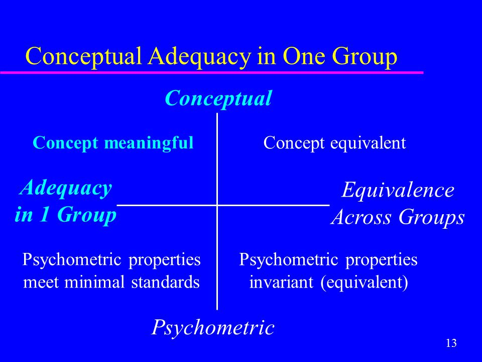 13 Conceptual Adequacy in One Group Conceptual Psychometric Adequacy in 1 Group Equivalence Across Groups Concept equivalent Psychometric properties m