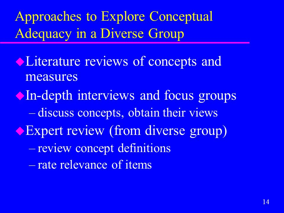 14 Approaches to Explore Conceptual Adequacy in a Diverse Group u Literature reviews of concepts and measures u In-depth interviews and focus groups –