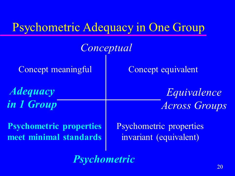 20 Psychometric Adequacy in One Group Conceptual Psychometric Adequacy in 1 Group Equivalence Across Groups Concept equivalent Psychometric properties