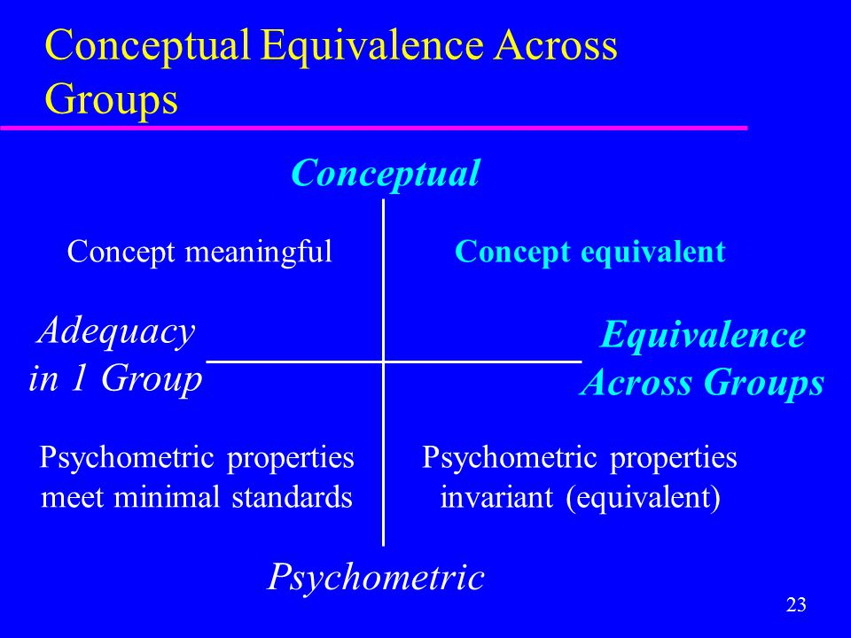 23 Conceptual Equivalence Across Groups Conceptual Psychometric Adequacy in 1 Group Equivalence Across Groups Concept equivalent Psychometric properti