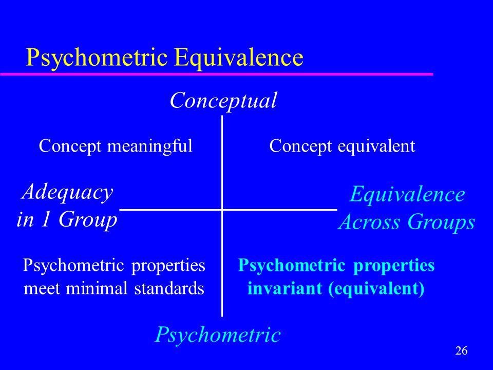 26 Psychometric Equivalence Conceptual Psychometric Adequacy in 1 Group Equivalence Across Groups Concept equivalent Psychometric properties meet mini