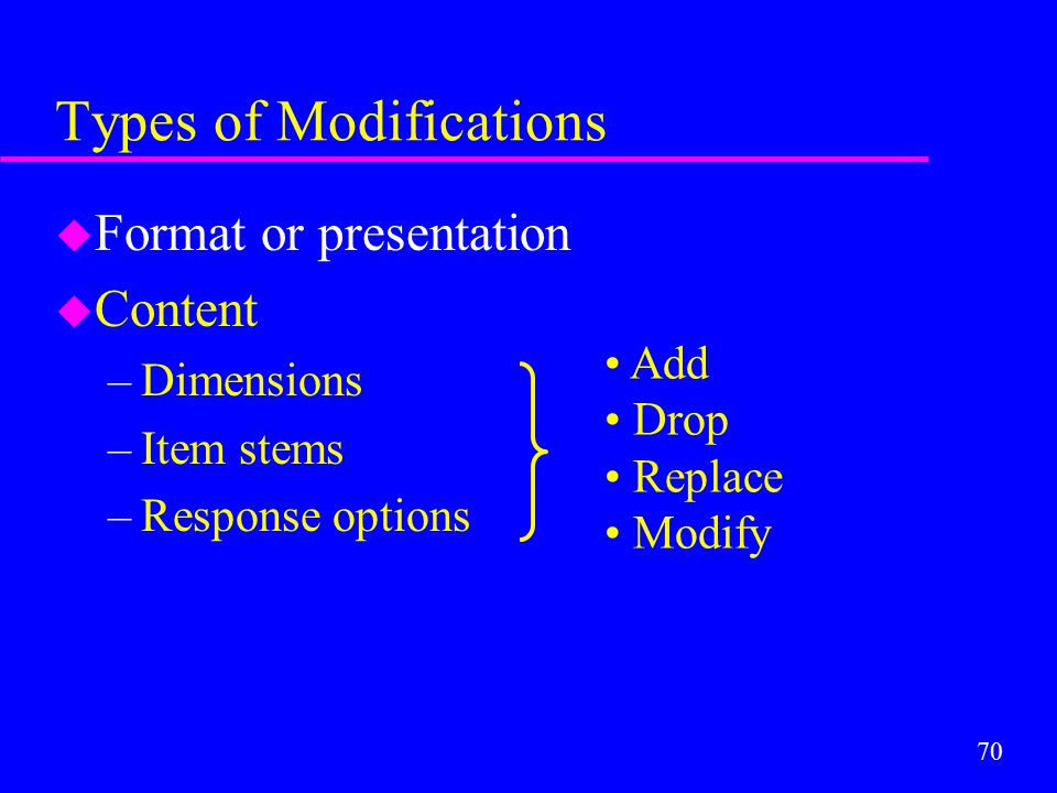 70 Types of Modifications u Format or presentation u Content –Dimensions –Item stems –Response options Add Drop Replace Modify