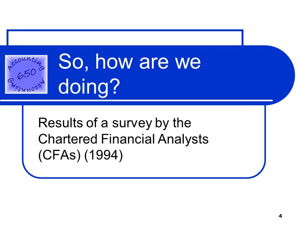 4 So, how are we doing Results of a survey by the Chartered Financial Analysts (CFAs) (1994)