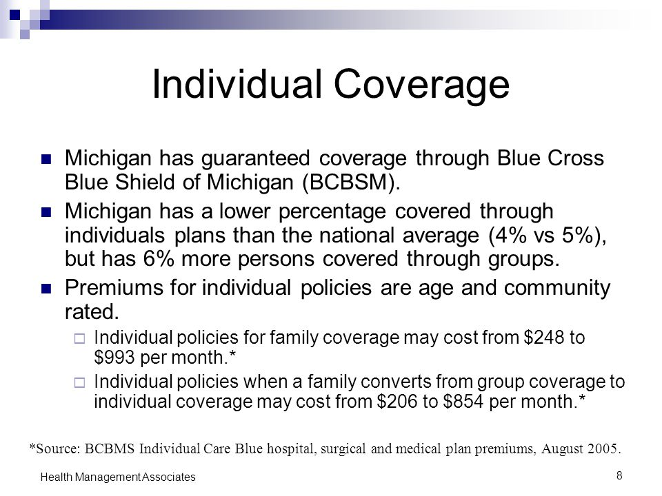 8 Health Management Associates Individual Coverage Michigan has guaranteed coverage through Blue Cross Blue Shield of Michigan (BCBSM).