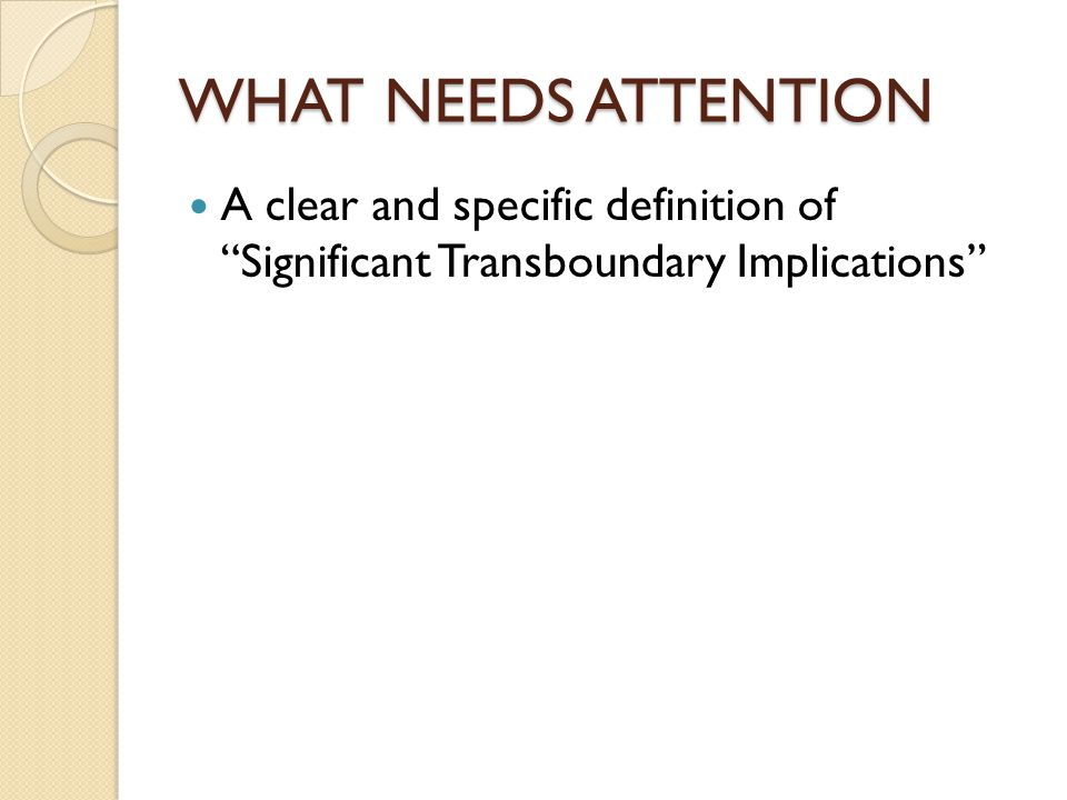 """WHAT NEEDS ATTENTION A clear and specific definition of """"Significant Transboundary Implications"""""""
