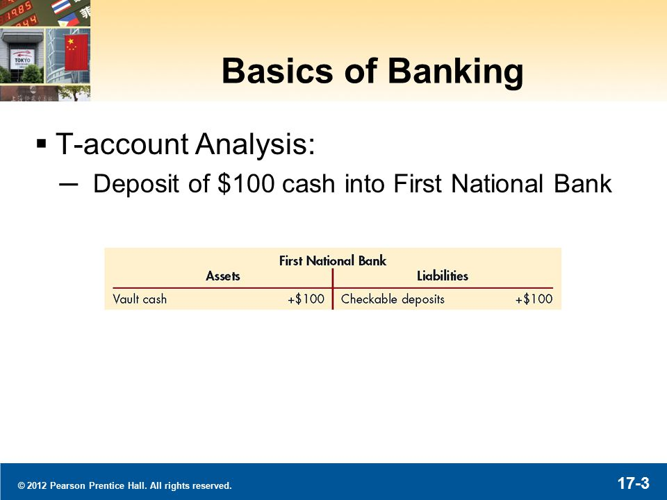© 2012 Pearson Prentice Hall. All rights reserved. 17-3 Basics of Banking  T-account Analysis: ─Deposit of $100 cash into First National Bank
