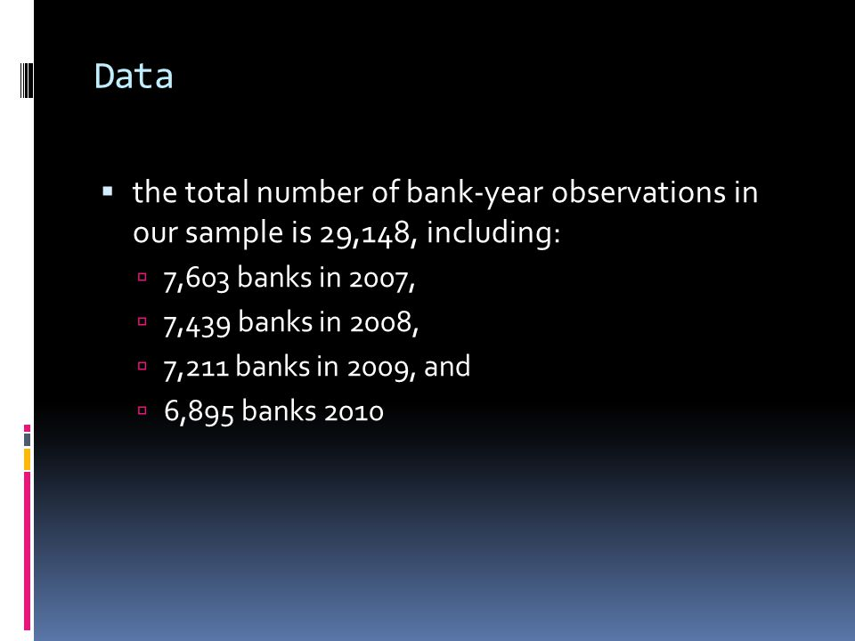 Data  the total number of bank-year observations in our sample is 29,148, including:  7,603 banks in 2007,  7,439 banks in 2008,  7,211 banks in 2