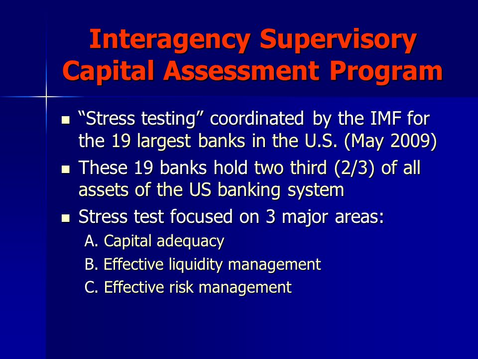 "Interagency Supervisory Capital Assessment Program ""Stress testing"" coordinated by the IMF for the 19 largest banks in the U.S. (May 2009) ""Stress tes"