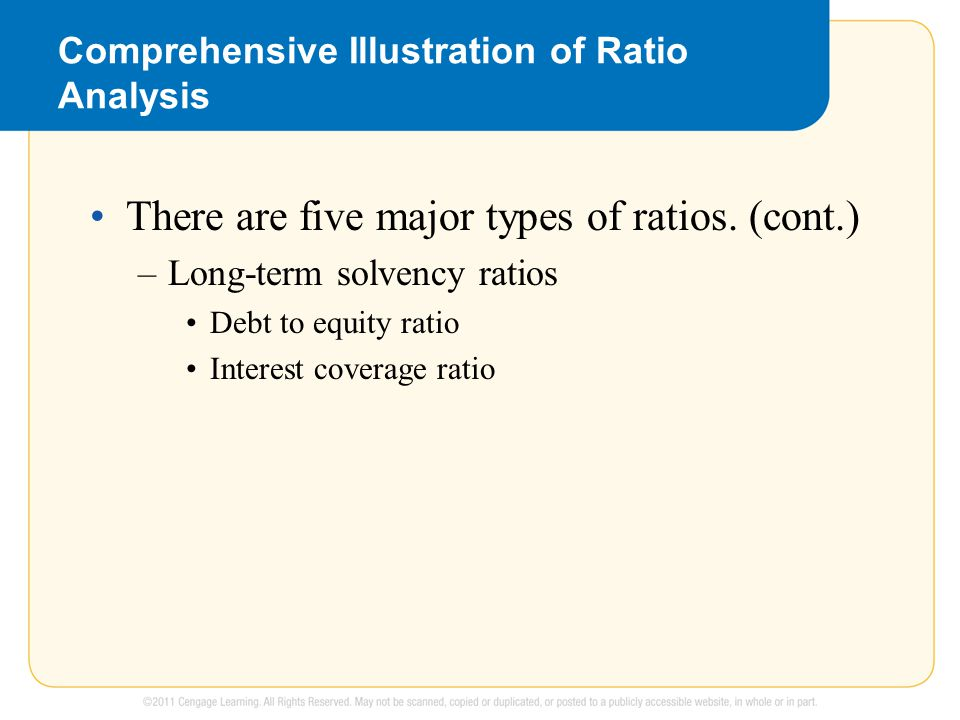 Comprehensive Illustration of Ratio Analysis There are five major types of ratios. (cont.) –Long-term solvency ratios Debt to equity ratio Interest co