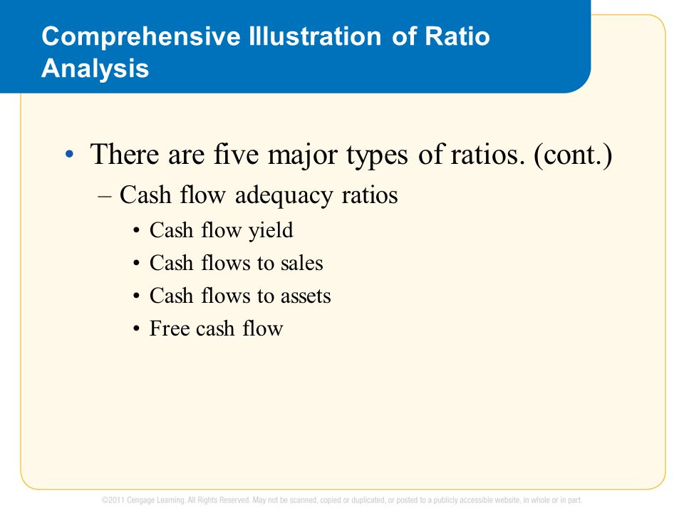 Comprehensive Illustration of Ratio Analysis There are five major types of ratios. (cont.) –Cash flow adequacy ratios Cash flow yield Cash flows to sa
